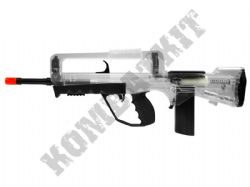 FAMAS Combat Rifle Official Replica Airsoft BB Gun Black and Clear